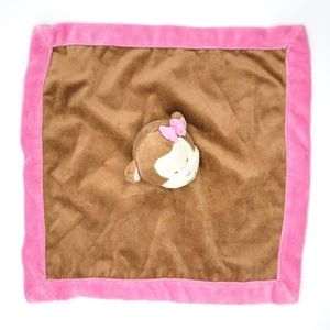 Tiddliwinks brown pink monkey with bow lovey plush